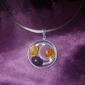 Amber pendant necklace and ring